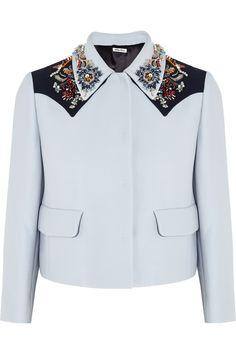 Miu Miu|Embellished crepe jacket|NET-A-PORTER.COM