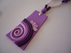 INSPIRATIONAL /   Crochet necklace with polymer clay pendant -  LILAC ENERGY. $20.00, via Etsy.: