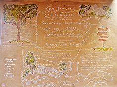 An custom invitation map, illustrated in white ink on brown packing paper. So charming. $250.00.