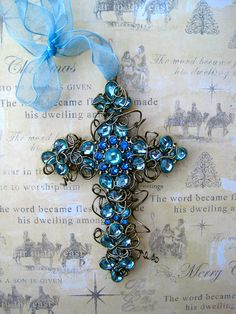 Wire-wrapped Cross Ornament - Blue - Christmas - Easter - Wedding