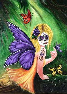 """Sugar Skull Art - Fairy - Day of the Dead - Purple Butterfly - Fantasy Art - Giclee  - Canvas Print - """"Violet"""""""