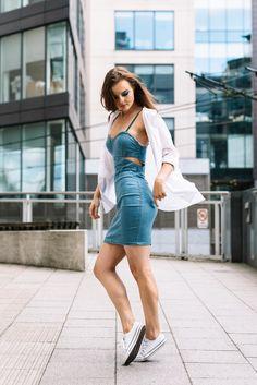 flattering mini dress | denim dress outfit ideas | Misspap cutout denim dress | white shirt with denim