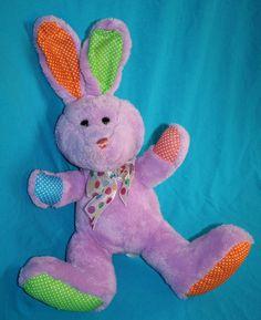 "Publix EASTER BUNNY RABBIT 12"" Purple Plush Polka Dots Ears Bow Stuffed Soft Toy…"
