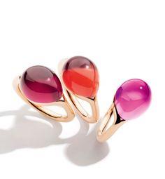 #anillos de gemas rojas y rosas de la nueva línea Rouge Passion by #Pomellato