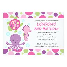 Shop Sea Pink Girl Birthday Invitations created by InvitingExpression. Pool Party Birthday Invitations, Birthday Party Themes, Girl Birthday, Baby Shower Invites For Girl, Baby Shower Invitations, Ocean Baby Showers, Pink Girl, Pink Purple, Sea