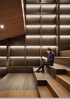 Community hubs are increasingly important for Japan as its population declines - News - Frameweb Dark Interiors, Office Interiors, Feature Wall Design, Interior Architecture, Interior Design, Showroom Design, Workplace Design, Co Working, Design Competitions