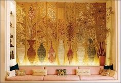 Fleur Cowles home in London, wall panels by Federico Pallavicini