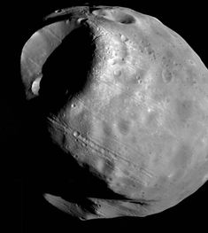 Phobos, the larger of Mars' two moons, taken by the Viking1 probe on is close approach in February 1977. Phobos is most likely a captured in-system asteroid grabbed by Mars' gravity at some unknown point in the past. It is also in a  decaying orbit and will (in around 30-50million years) disintegrate into a ring of rubble around Mars.