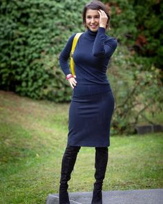 Turtleneck sweater, pencil skirt and over the knee suede boots | For more style inspiration visit 40plusstyle.com