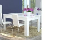 Table à manger extensible blanc laqué design GALENA Outdoor Furniture Sets, Outdoor Decor, Design, Home Decor, White Wash Table, Extendable Dining Table, Exterior Decoration, Home, Decoration Home