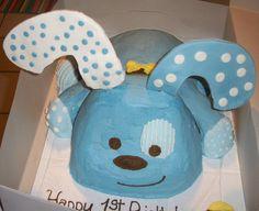 Puppy Boy 1st Birthday Cake.  Coordinates perfectly with this birthday dog theme: http://www.bigdotofhappiness.com/puppyboy-birthday-theme.html
