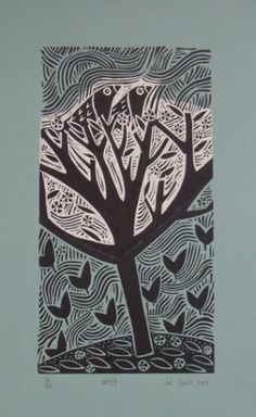 Nest ~ Linocut ~ Liz Toole