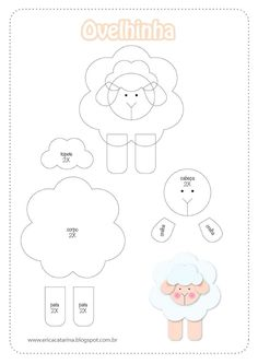 Sheep pattern for appliqué - felt Sheep Crafts, Felt Crafts, Felt Patterns, Applique Patterns, Sewing Crafts, Sewing Projects, Felt Templates, Baby Mobile, Quilting