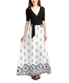 Loving this Black & White Diamond  Tie-Waist Maxi Dress on #zulily! #zulilyfinds