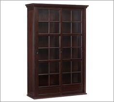 Garrett Glass Cabinet #potterybarn - the doors slide to the side