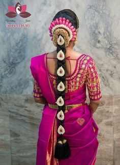 Steal The Show With Beautiful Floral Jadas - Wedding hairstyles half up half down South Indian Wedding Hairstyles, Bridal Hairstyle Indian Wedding, Bridal Hair Buns, Bridal Hairdo, South Indian Weddings, Indian Bridal Makeup, Bride Hairstyles, Hair Wedding, Bridal Sarees South Indian