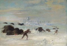 Native American George Catlin Hunting Buffalo in Snow Shoes by griffinlb, via Flickr