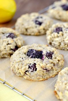 Lemon Blackberry Breakfast Cookies are dairy, egg, and gluten free! | iowagirleats.com