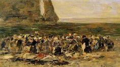 Etretat, Laundresses on the Beach, Low Tide - Eugene Boudin  ..  Completion Date: c.1892
