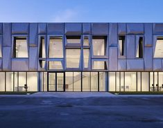Interesting material and facade design for a warehouse office.
