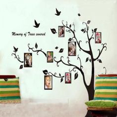 Black Tree Pattern Photo Posted Removable Wall paper Sticker To Left
