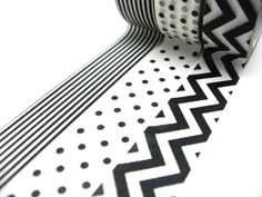 Black and White Polka Dots Chevron Washi Tape Set by chickydoddle
