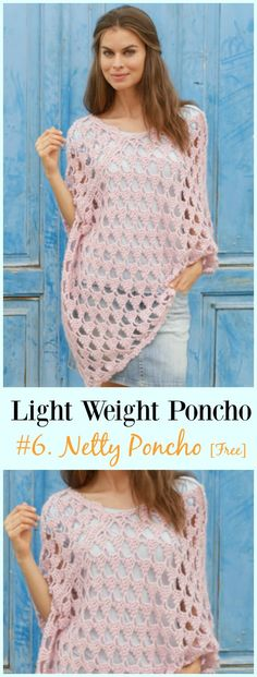 Crochet Netty Poncho Free Pattern-Light Weight Spring Summer #Poncho; Free #Crochet; Patterns