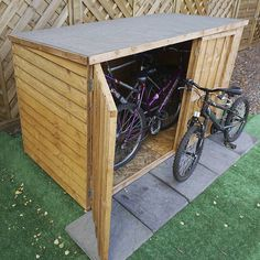 The Winchester 3 x 6 Overlap Pent Bike Store is a fantastic storage shed ideal for storing multiple bicycles. Made from FSC timber, the shed features sand felt covering to protect the roof.The shed is built for the purpose of storing bicycles but can . Small Storage, Storage Spaces, Buy Shed, Corrugated Plastic, Corrugated Roofing, Shed Roof, Bike Store, Garden Buildings, Gardens