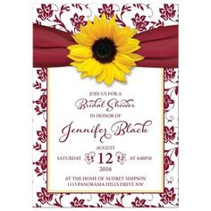 Burgundy and yellow sunflower and ribbon floral bridal shower invitation. A great choice for a fall bridal shower.