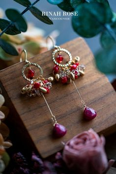 Handmade Silver plated Custom size available. Gemstone jewelry Dangle earrings Red Wine Gemstone and Crystal bracelet and earrings set