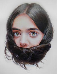 """Storytellers XVI"" - Roos van der Vliet, acrylic on canvas {figurative realism art beautiful female head hair hyperreal woman face portrait painting #loveart}"