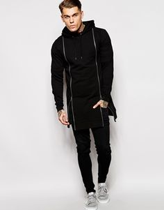 ASOS Super Longline Hoodie With Double Zip Front