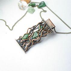 Pendant with jade Unique pendant Boho pendant by JewelryPleaseShop