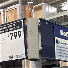 An Appliance Overhead Sign Channel both defines the configuration of appliances, and provides sign and label space without cluttering the merchandise itself Clutter, Channel, Appliances, Signs, Gadgets, Accessories, Shop Signs, Home Appliances, Sign