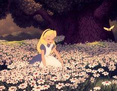 Alice. Having a daisy overdose.Alice in Wonderland. '51.