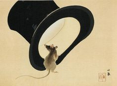 Mouse and Top Hat by Takeuchi Seiho, 1937
