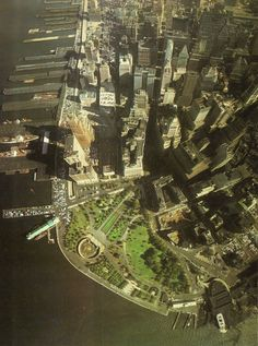 Aerial view of lower Manhattan (July 1966) - Shortly before the Twin Towers were built