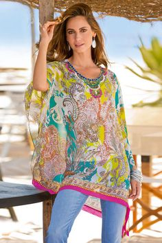 Add a pop of colour to your wardrobe with Together's bright and floaty Embellished Neck Kaftan. Together Embellished Neck Kaftan Online | Shop EziBuy