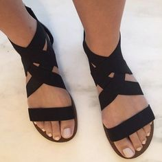 Black Strappy Wrap Gladiator Sandals with Back Zipper