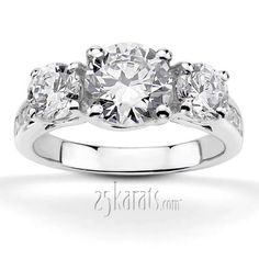 Love this 3-stone ring - Trellis Setting Three Stone Diamond Engagement Ring (0.94 ct. tw. not including center stone)