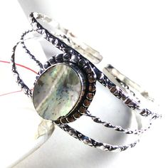 Adjustable Cuff Bracelet AAA Abalone Shell Gemstone 925 Silver Plated Jewelry #Unbranded #BangleCuff