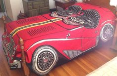 Vintage RED Spitfire Race Car Twin Size Bedspread by Mr. Sid Everware 1970s