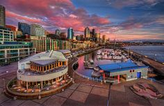 Seattle Waterfront at Sunset