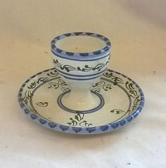 RETRO Vintage HAND PAINTED FLORAL Traditional EGG CUP w/ DISH PLATE 7cm | eBay