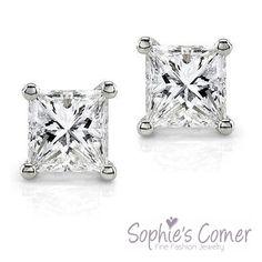 3 ctw Created Diamond Princess Stud Earrings ~ Sterling Silver ~ Gift box