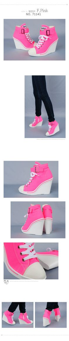 No Products Returned,Women Canvas Wedge High Heels Sneakers Tennis Shoes Boots Neon Pink Boots for Girls - Face the Wind and Weather with Appeal Women's boots :. Sneaker High Heels, Wedge Sneakers, Sneaker Wedges, Wedge Heels, Shoes Sneakers, Dream Shoes, Crazy Shoes, Me Too Shoes, Pretty Shoes