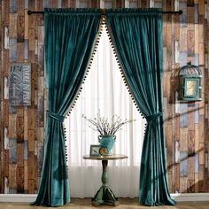Amazon Melodieux Pompon Velvet Thermal Insulated Light Reducing Rod Pocket Curtains 52 By 84 Inch Antique Green 1 Panel