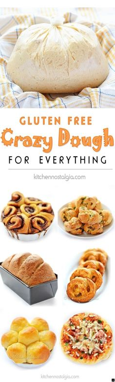 Gluten-Free Crazy Dough - make one dough keep it in your fridge and use it for anything you like: bread pizza dinner rolls cinnamon rolls garlic knots pretzels focaccia etc. - March 02 2019 at Gluten Free Cooking, Gluten Free Desserts, Desserts Menu, Apple Desserts, Italian Desserts, Lactose Free Dinners, Healthy Cooking, Gluten Free Lunches, Gluten Free Lunch Ideas