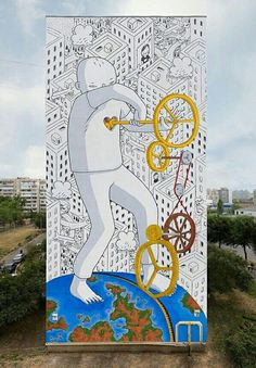 Italian artist Francesco Camillo Giorgino, known as Millo Farm Art, Graffiti Designs, Graffiti Murals, Murals Street Art, Tag Street Art, Urban Street Art, Urban Art, Public Art, Lovers Art