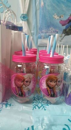 Mason jar drinks at a Frozen birthday party! See more party ideas at CatchMyParty.com!